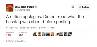 One of many apologies from DiGiorno Pizza following their #whyIstayed Tweet