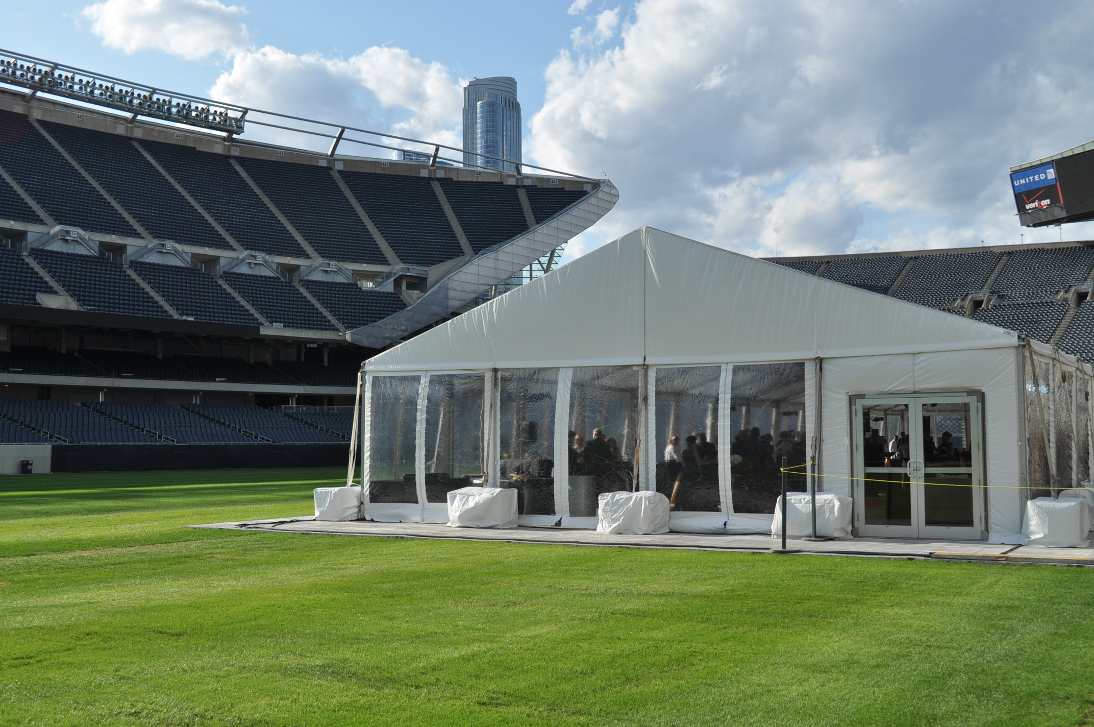 Wish Ball tent on the field at Soldier Field