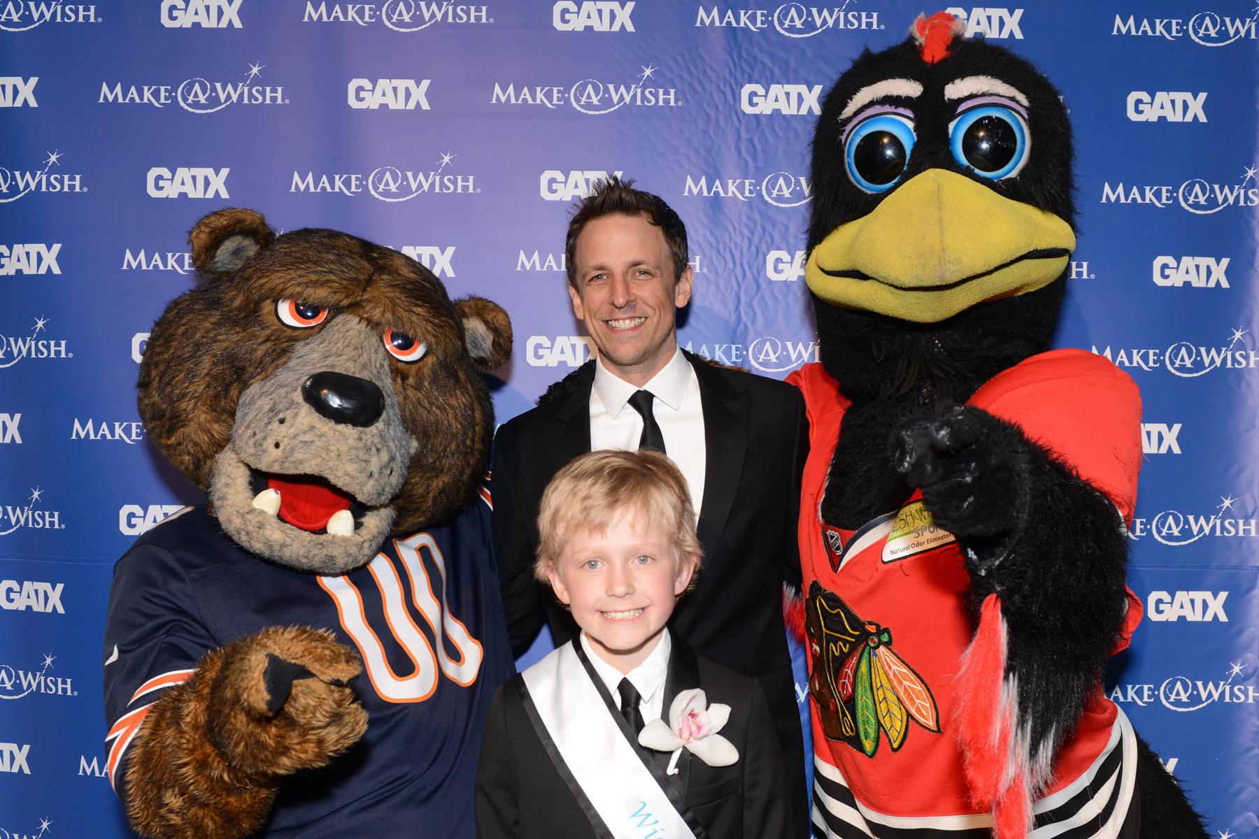 Staley the Bear, Seth Meyers, Wish Ambassador James Ensign, Tommy Hawk