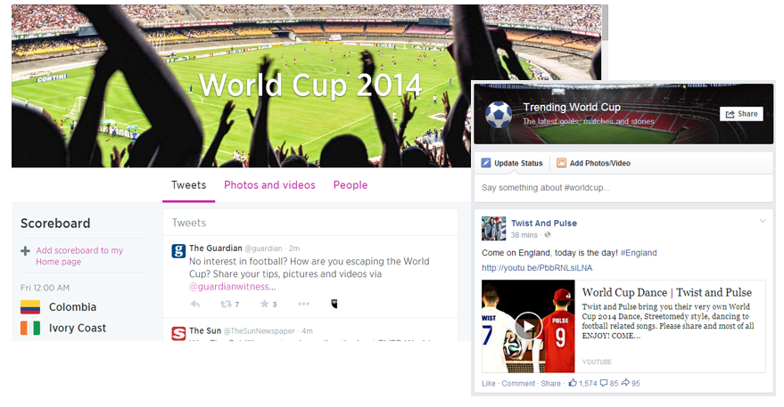 Facebook and Twitter both released pages that consolidates updates on World Cup 2014.