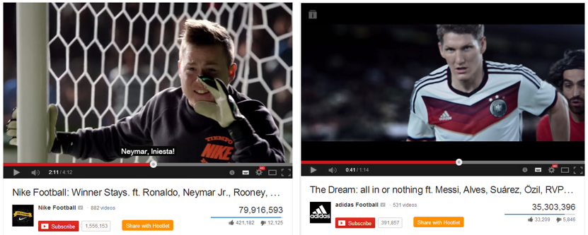 Nike and Adidas campaigns for World Cup 2014. Risk Everything and The Dream: All in or Nothing respectively.